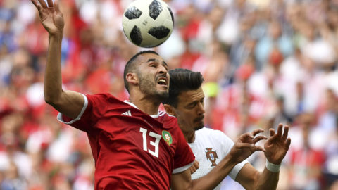 Morocco's forward Khalid Boutaib (L) heads the ball as he vies for it with Portugal's defender Jose Fonte during the Russia 2018 World Cup Group B football match between Portugal and Morocco at the Luzhniki Stadium in Moscow on June 20, 2018. / AFP PHOTO / FADEL SENNA / RESTRICTED TO EDITORIAL USE - NO MOBILE PUSH ALERTS/DOWNLOADS
