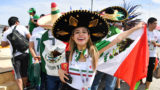 Mexico's fan pose as they arrive for the Russia 2018 World Cup Group F football match between South Korea and Mexico at the Rostov Arena in Rostov-On-Don on June 23, 2018. / AFP PHOTO / JOE KLAMAR / RESTRICTED TO EDITORIAL USE - NO MOBILE PUSH ALERTS/DOWNLOADS