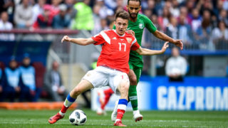 Aleksandr Golovin of Russia challenges a player of Saudi Arabia in their Group A match during the 2018 FIFA World Cup in Moscow, Russia, 14 June 2018.Russia has spent the past seven years fretting over every detail of the world's most popular sporting event amid security fears, tense foreign affairs, and the sudden realization that its soccer team might not be very good. Somewhere along the line, the main concern had become avoiding embarrassment at its own World Cup. Russians learned on Thursday, however, that there is an old soccer remedy for nervous hosts. It turns out nothing lifts the mood like a truly abysmal opponent. A million things could yet go wrong here, but Russia will always have its opening-day party to look back on, a 5-0 dismantling of Saudi Arabia.
