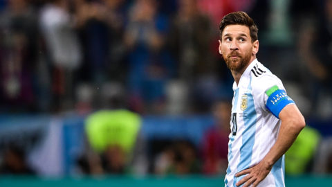 Lionel Messi of Argentina reacts after Luka Modric of Croatia scored a goal in their Group D match during the 2018 FIFA World Cup in Nizhny Novgorod, Russia, 21 June 2018.  Lionel Messi's frustrating international career may be coming to an early and anti-climactic finish after Argentina's worst loss in World Cup group play in 60 years. With Diego Maradona watching from the stands, the 2014 runners-up were routed by Croatia 3-0 Thursday. The Croats are moving on to the round of 16. Messi got off only one shot in a defeat that pushed Argentina to the brink of elimination. Messi, who turns 31 on Sunday, has never won a major title with Argentina's senior national team despite of decade of championships with Barcelona and five player of the year awards.