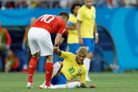 ROSTOV-ON-DON, RUSSIA - JUNE 17 : Neymar of Brazil gestures during 2018 FIFA World Cup Russia Group E match between Brazil and Switzerland at Rostov Arena in Rostov-on-Don, Russia on June 17, 2018.  Gokhan Balci / Anadolu Agency