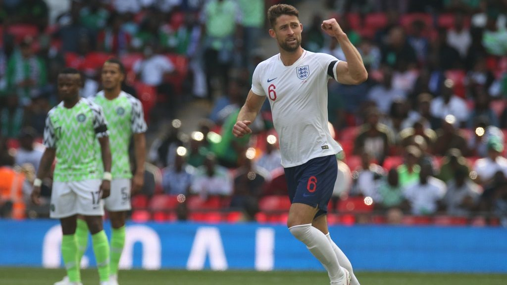 England's Gary Cahill  celebrates scoring his sides first goal  during International match between England against Nigeria at Wembley stadium, London, on 02 June 2018 (Photo by Kieran Galvin/NurPhoto)