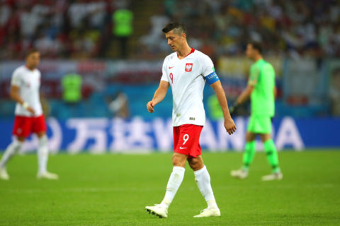KAZAN, RUSSIA - JUNE 24:   Robert Lewandowski of Poland looks on during the 2018 FIFA World Cup Russia group H match between Poland and Colombia at Kazan Arena on June 24, 2018 in Kazan, Russia. (Photo by Robbie Jay Barratt - AMA/Getty Images)
