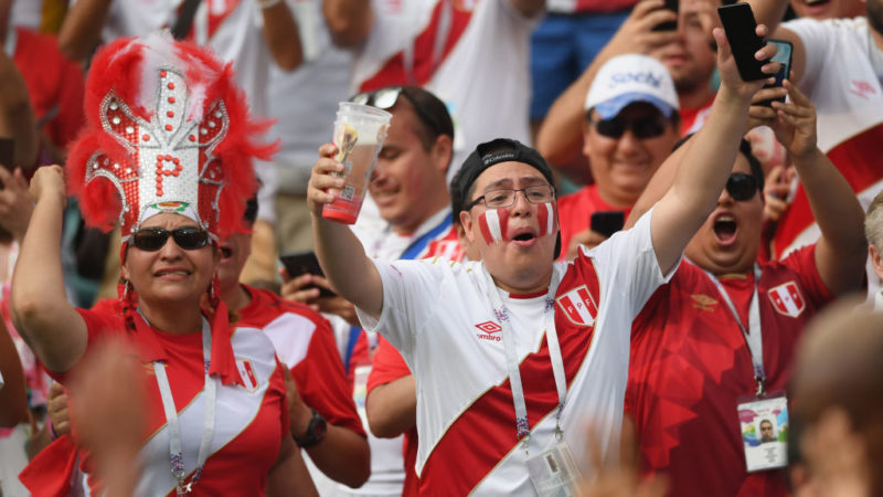SOCHI, RUSSIA - JUNE 26:  Peru fans enjoy the atmosphere during the 2018 FIFA World Cup Russia group C match between Australia and Peru at Fisht Stadium on June 26, 2018 in Sochi, Russia.  (Photo by Stu Forster/Getty Images)