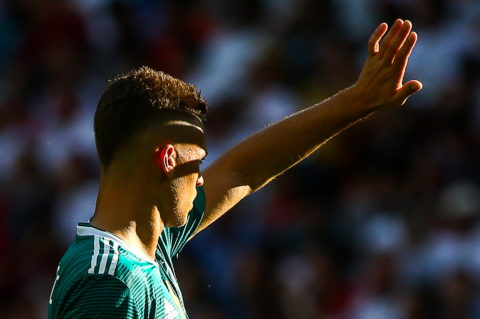 KAZAN, RUSSIA - JUNE 27, 2018: Germanys Joshua Kimmich in their 2018 FIFA World Cup Group F match against South Korea at Kazan Arena Stadium. Yegor Aleyev/TASS (Photo by Yegor AleyevTASS via Getty Images)