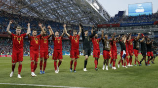 Belgium's players celebrate at the end of the Russia 2018 World Cup Group G football match between Belgium and Panama at the Fisht Stadium in Sochi on June 18, 2018. / AFP PHOTO / Adrian DENNIS / RESTRICTED TO EDITORIAL USE - NO MOBILE PUSH ALERTS/DOWNLOADS