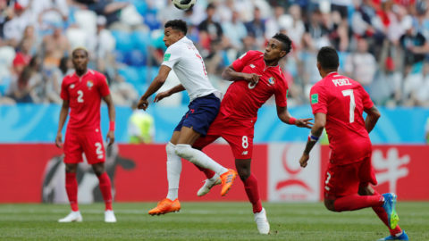 Soccer Football - World Cup - Group G - England vs Panama - Nizhny Novgorod Stadium, Nizhny Novgorod, Russia - June 24, 2018   England's Jesse Lingard in action with Panama's Edgar Barcenas        REUTERS/Carlos Barria