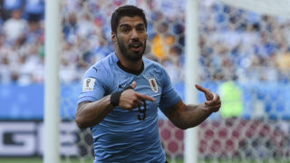 Uruguay's forward Luis Suarez celebrates a goal during the Russia 2018 World Cup Group A football match between Uruguay and Saudi Arabia at the Rostov Arena in Rostov-On-Don on June 20, 2018. / AFP PHOTO / Khaled DESOUKI / RESTRICTED TO EDITORIAL USE - NO MOBILE PUSH ALERTS/DOWNLOADS
