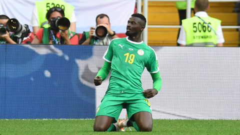 Senegal's forward Mbaye Niang celebrates a goal during the Russia 2018 World Cup Group H football match between Poland and Senegal at the Spartak Stadium in Moscow on June 19, 2018. / AFP PHOTO / Patrik STOLLARZ / RESTRICTED TO EDITORIAL USE - NO MOBILE PUSH ALERTS/DOWNLOADS