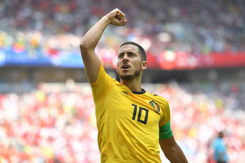 Belgium's forward Eden Hazard celebrates his second goal during the Russia 2018 World Cup Group G football match between Belgium and Tunisia at the Spartak Stadium in Moscow on June 23, 2018. / AFP PHOTO / Yuri CORTEZ / RESTRICTED TO EDITORIAL USE - NO MOBILE PUSH ALERTS/DOWNLOADS