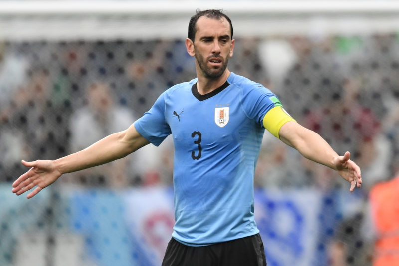 Uruguay's defender Diego Godin gestures during the Russia 2018 World Cup quarter-final football match between Uruguay and France at the Nizhny Novgorod Stadium in Nizhny Novgorod on July 6, 2018. / AFP PHOTO / Kirill KUDRYAVTSEV