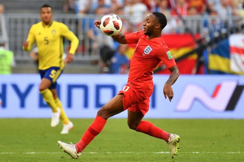England's forward Raheem Sterling controls the ball during the Russia 2018 World Cup quarter-final football match between Sweden and England at the Samara Arena in Samara on July 7, 2018. / AFP PHOTO / Yuri CORTEZ / RESTRICTED TO EDITORIAL USE - NO MOBILE PUSH ALERTS/DOWNLOADS