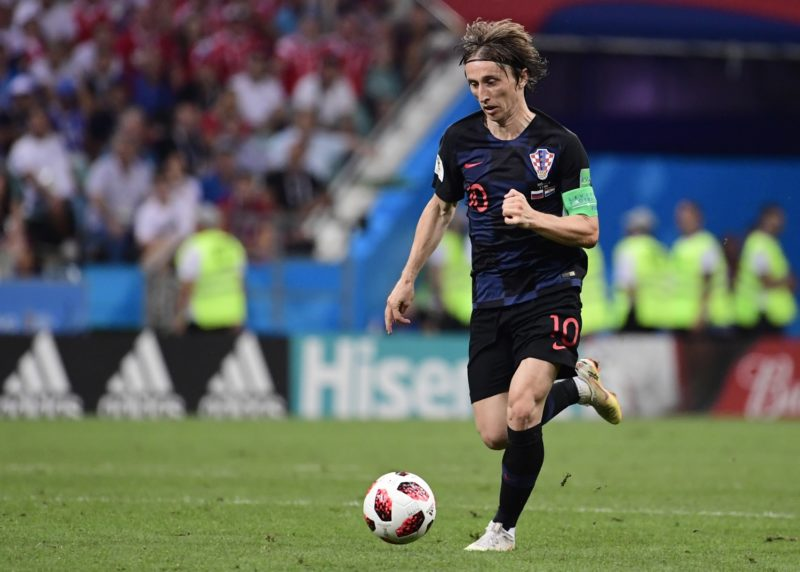 Croatia's midfielder Luka Modric controls the ball during the Russia 2018 World Cup quarter-final football match between Russia and Croatia at the Fisht Stadium in Sochi on July 7, 2018. / AFP PHOTO / PIERRE-PHILIPPE MARCOU / RESTRICTED TO EDITORIAL USE - NO MOBILE PUSH ALERTS/DOWNLOADS