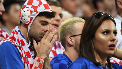 Croatia fans react during the Russia 2018 World Cup semi-final football match between Croatia and England at the Luzhniki Stadium in Moscow on July 11, 2018. / AFP PHOTO / YURI CORTEZ / RESTRICTED TO EDITORIAL USE - NO MOBILE PUSH ALERTS/DOWNLOADS