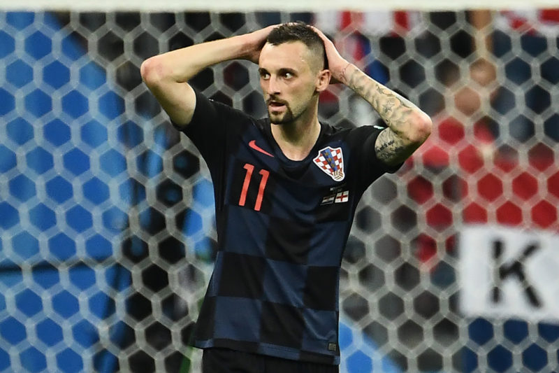 Croatia's midfielder Marcelo Brozovic reacts during the Russia 2018 World Cup semi-final football match between Croatia and England at the Luzhniki Stadium in Moscow on July 11, 2018. / AFP PHOTO / FRANCK FIFE / RESTRICTED TO EDITORIAL USE - NO MOBILE PUSH ALERTS/DOWNLOADS