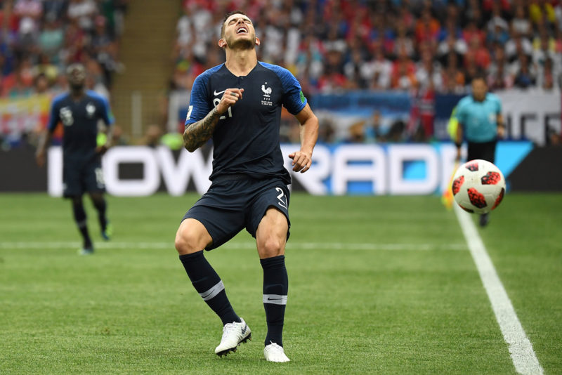 France's defender Lucas Hernandez reacts during the Russia 2018 World Cup final football match between France and Croatia at the Luzhniki Stadium in Moscow on July 15, 2018. / AFP PHOTO / Kirill KUDRYAVTSEV / RESTRICTED TO EDITORIAL USE - NO MOBILE PUSH ALERTS/DOWNLOADS