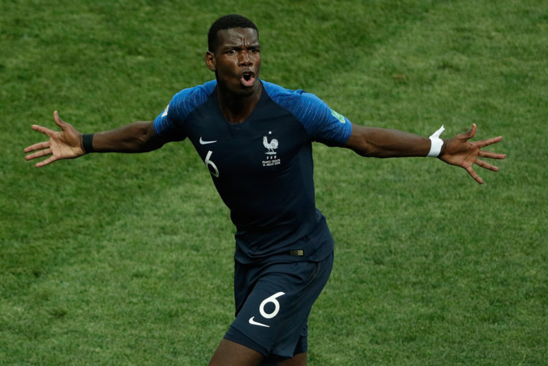 France's midfielder Paul Pogba celebrates after scoring a goal during the Russia 2018 World Cup final football match between France and Croatia at the Luzhniki Stadium in Moscow on July 15, 2018. / AFP PHOTO / Adrian DENNIS / RESTRICTED TO EDITORIAL USE - NO MOBILE PUSH ALERTS/DOWNLOADS