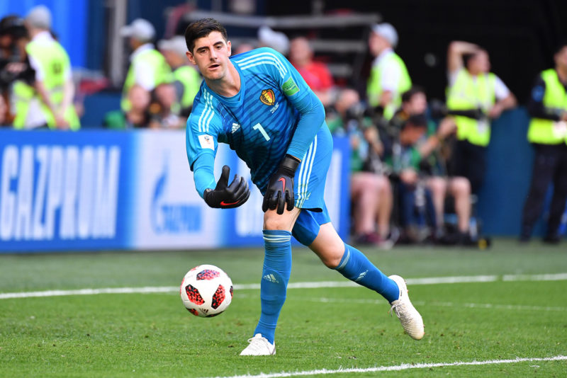 Thibaut COURTOIS, goalie (BEL), action, single action, single image, cut out, full body shot, full figure. Belgium (BEL) - ENGLAND (ENG) 2-0, match 63, match for 3rd place, on 07/14/2018 in Saint Petersburg, Arena Saint Petersburg, Football World Cup 2018 in Russia from 14.06. - 15.07.2018. | usage worldwide