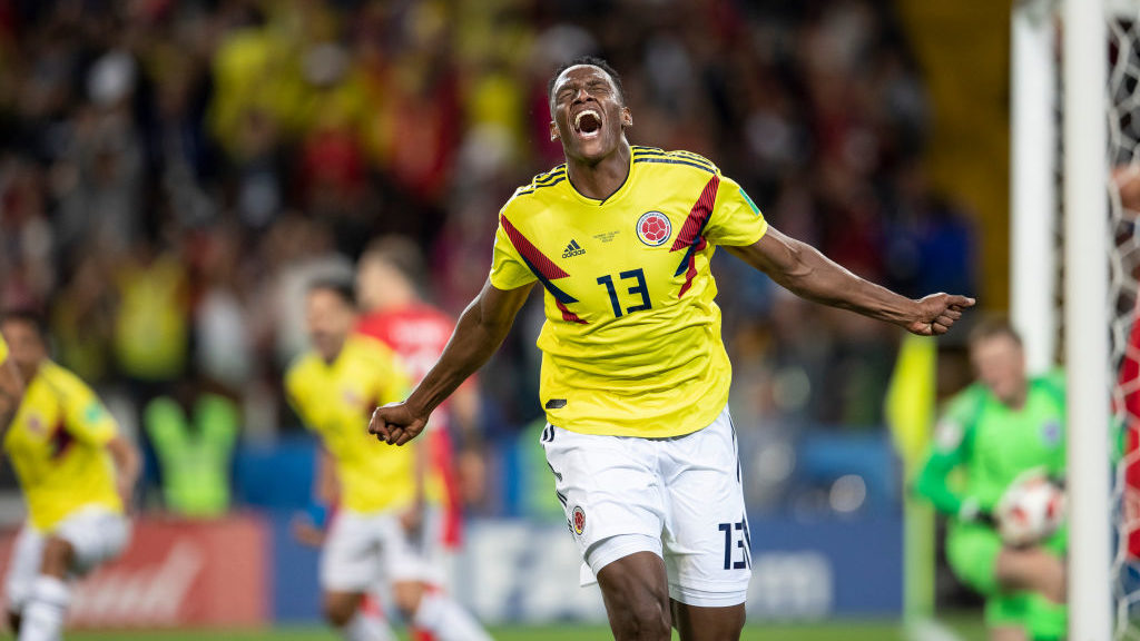 MOSCOW, RUSSIA - JULY 03:  Yerry Mina of Colombia celebrates scoring his side's first goal during the 2018 FIFA World Cup Russia Round of 16 match between Colombia and England at Spartak Stadium on July 3, 2018 in Moscow, Russia.  (Photo by Fred Lee/Getty Images)