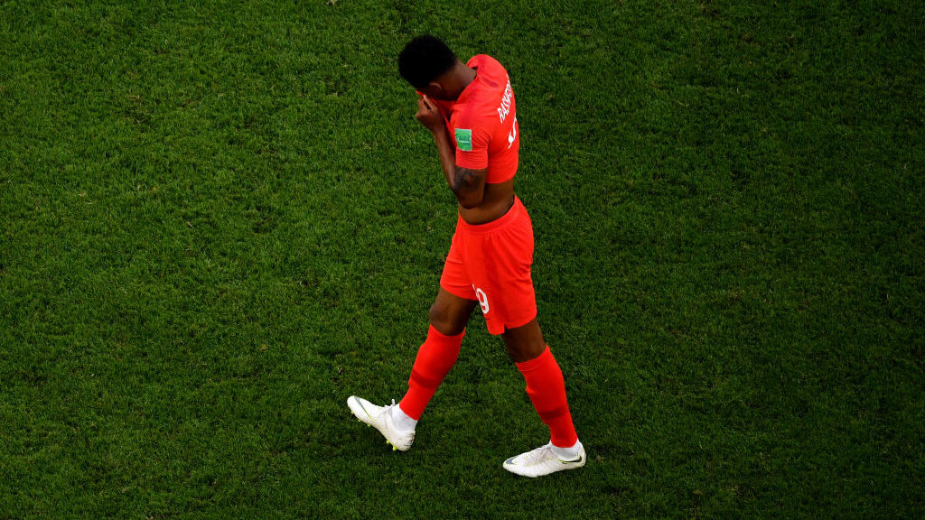 SAMARA, RUSSIA - JULY 07:  Marcus Rashford of England walks off after the 2018 FIFA World Cup Russia Quarter Final match between Sweden and England at Samara Arena on July 7, 2018 in Samara, Russia.  (Photo by Dan Mullan/Getty Images)