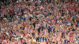 MOSCOW, RUSSIA - JULY 11:  Croatia fans celebrate during the 2018 FIFA World Cup Russia Semi Final match between England and Croatia at Luzhniki Stadium on July 11, 2018 in Moscow, Russia.  (Photo by Matthias Hangst/Getty Images)
