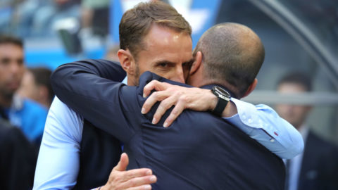 SAINT PETERSBURG, RUSSIA - JULY 14:  Roberto Martinez, Head coach of Belgium hhugs Gareth Southgate, Manager of England prior to the 2018 FIFA World Cup Russia 3rd Place Playoff match between Belgium and England at Saint Petersburg Stadium on July 14, 2018 in Saint Petersburg, Russia.  (Photo by Alexander Hassenstein/Getty Images)
