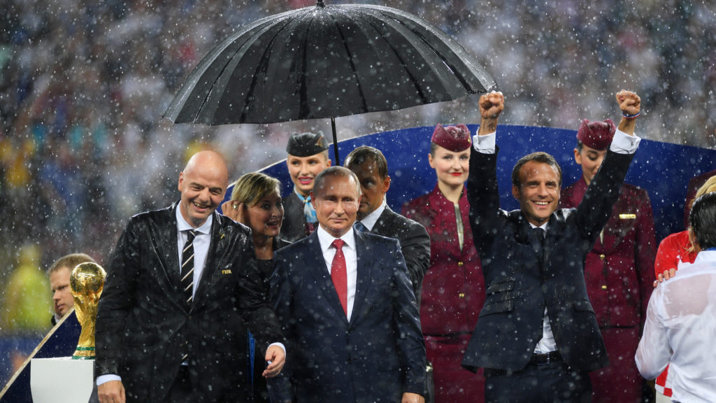 MOSCOW, RUSSIA - JULY 15:  FIFA president Gianni Infantino, President of Russia Valdimir Putin and French President Emmanuel Macron are seen following the 2018 FIFA World Cup Final between France and Croatia at Luzhniki Stadium on July 15, 2018 in Moscow, Russia.  (Photo by Shaun Botterill/Getty Images)