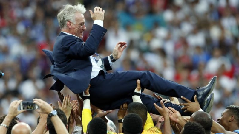 France coach Didier Deschamps during the 2018 FIFA World Cup Russia Final match between France and Croatia at the Luzhniki Stadium on July 15, 2018 in Moscow, Russia(Photo by VI Images via Getty Images)
