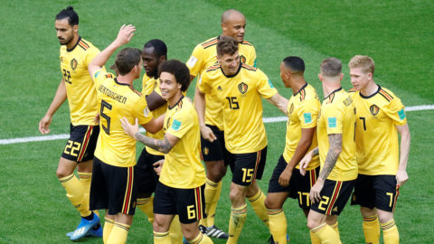 SAINT PETERSBURG, RUSSIA - JULY 14 : Thomas Meunier (15) of Belgium celebrates with his teammates after scoring a goal during the 2018 FIFA World Cup Russia Play-Off for Third Place between Belgium and England at the Saint Petersburg Stadium in Saint Petersburg, Russia on July 14, 2018. Gokhan Balci / Anadolu Agency