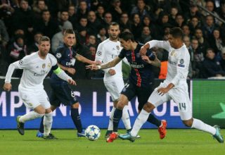 PARIS, FRANCE - OCTOBER 21:  Angel Di Maria of Paris Saint-Germain handles the ball during the UEFA Champions League match between Paris Saint-Germain and Real Madrid CF at Parc Des Princes on October 21, 2015 in Paris, France.  (Photo by Xavier Laine/Real Madrid via Getty Images)