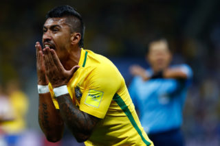 SAO PAULO, BRAZIL - MARCH 28: Paulinho of Brazil gestures during a match between Brazil and Paraguay as part of 2018 FIFA World Cup Russia Qualifier at Arena Corinthians on March 28, 2017 in Sao Paulo, Brazil. (Photo by Buda Mendes/Getty Images)