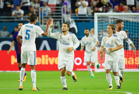 MIAMI GARDENS, FL - JULY 29:  Mateo Kovacic #16 of Real Madrid celebrates with teammates after scoring a goal in the first half against the Barcelona during their International Champions Cup 2017 match at Hard Rock Stadium on July 29, 2017 in Miami Gardens, Florida.  (Photo by Chris Trotman/Getty Images)