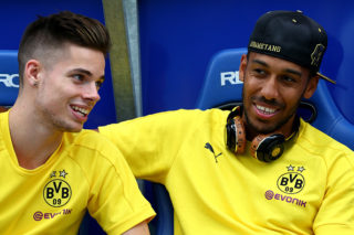 BOCHUM, GERMANY - JULY 22:  (L-R) Julian Weigl and Pierre-Emerick Aubameyang of Dortmund are seen prior to the preseason friendly match between VfL Bochum and Borussia Dortmund at Vonovia Ruhrstadion on July 22, 2017 in Bochum, Germany.  (Photo by Christof Koepsel/Bongarts/Getty Images)