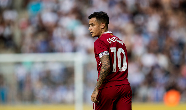 BERLIN, GERMANY - JULY 29:  Philippe Coutinho of Liverpool FC looks on during the Preseason Friendly match between Hertha BSC and FC Liverpool at Olympiastadion on July 29, 2017 in Berlin, Germany.  (Photo by Boris Streubel/Getty Images)