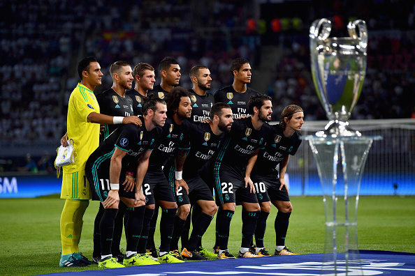 SKOPJE, MACEDONIA - AUGUST 08: The Real Madrid team pose for a team photo prior to the UEFA Super Cup final between Real Madrid and Manchester United at the Philip II Arena on August 8, 2017 in Skopje, Macedonia.  (Photo by Dan Mullan/Getty Images)