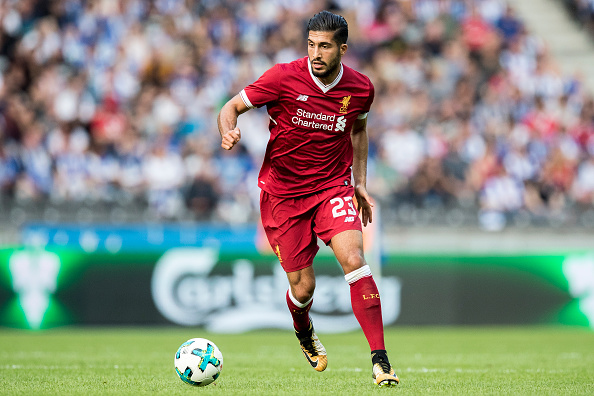 BERLIN, GERMANY - JULY 29:  Emre Can of Liverpool FC runs with the ball during the Preseason Friendly match between Hertha BSC and FC Liverpool at Olympiastadion on July 29, 2017 in Berlin, Germany.  (Photo by Boris Streubel/Getty Images)