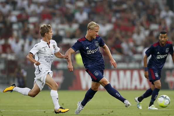 (L-R) Vincent Koziello of OCG Nice, Kasper Dolberg of Ajax during the UEFA Champions League third round qualifying first leg match between OGC Nice and Ajax Amsterdam on July 26, 2017 at the Allianz Riviera in Nice, France(Photo by VI Images via Getty Images)