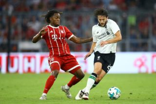 Renato Sanches of Bayern and Adam Lallana of Liverpool during the Audi Cup 2017 match between Bayern Muenchen and Liverpool FC at Allianz Arena on August 1, 2017 in Munich, Germany.  (Photo by Matteo Ciambelli/NurPhoto)