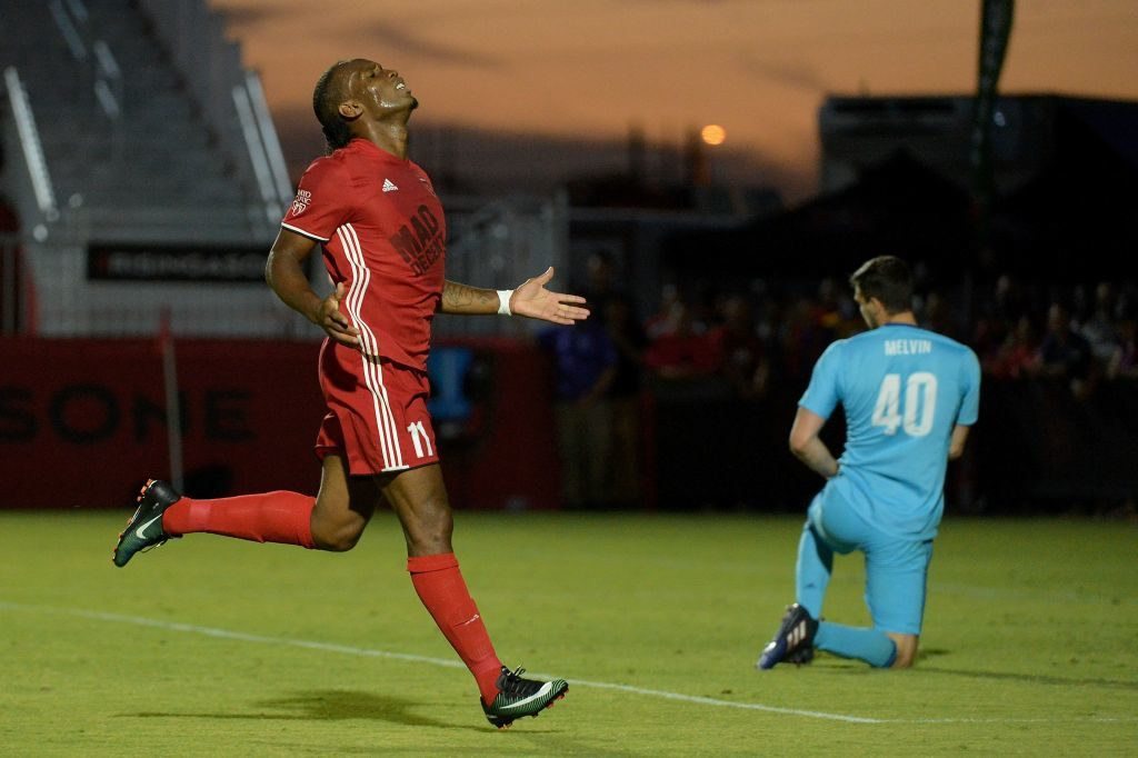 PHOENIX, AZ - JUNE 10: Didier Drogba #11 of Phoenix Rising FC reacts after an attempted shot in the first half against the Vancouver Whitecaps II at Phoenix Rising Soccer Complex on June 10, 2017 in Phoenix, Arizona.   Jennifer Stewart/Getty Images/AFP