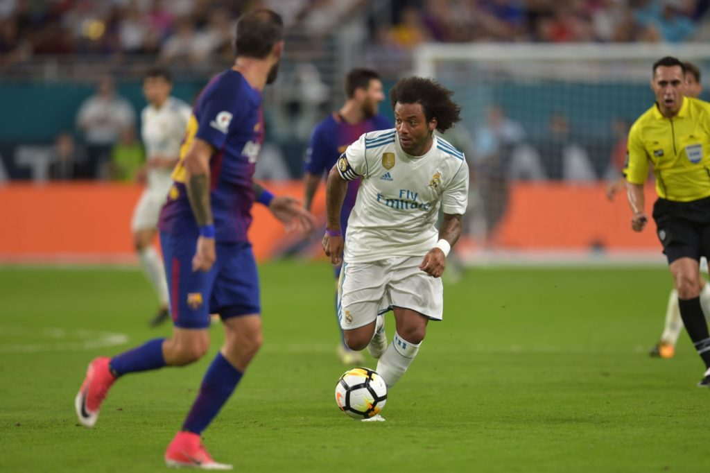 Marcelo of Real Madrid controls the ball during their International Champions Cup football match at Hard Rock Stadium on July 29, 2017 in Miami, Florida. Barcelona won 3-2. / AFP PHOTO / HECTOR RETAMAL
