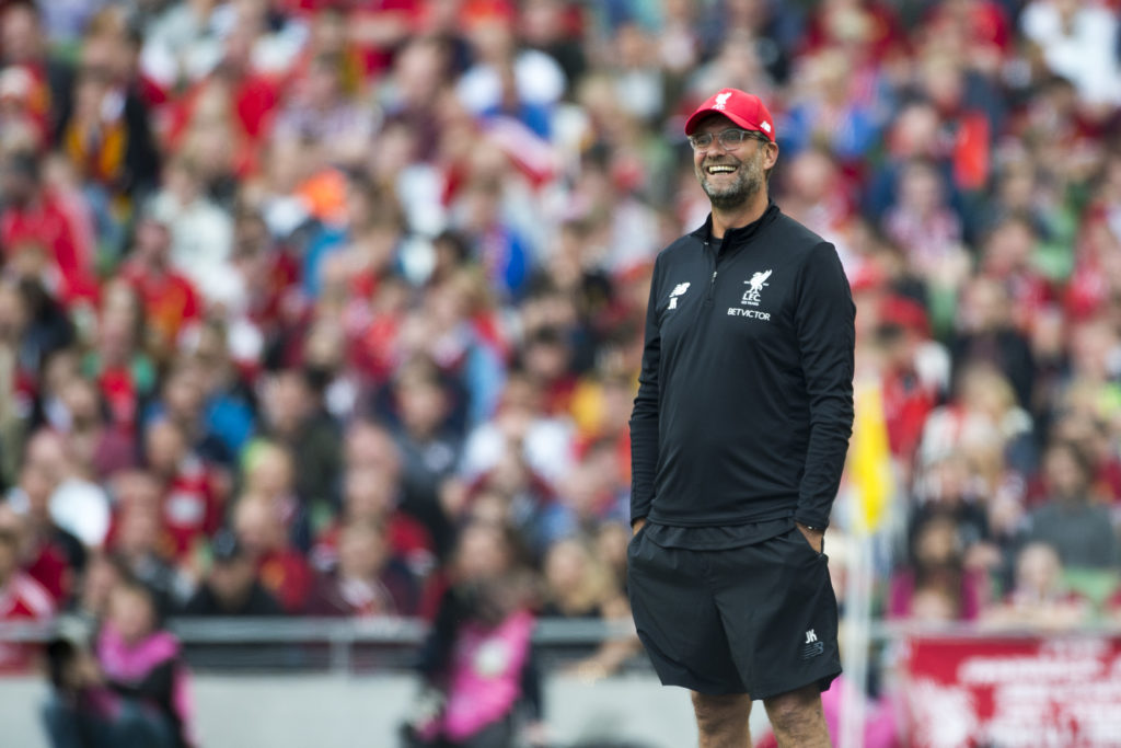 Jurgen Klopp Manager of Liverpool during the Pre-Season Friendly match between Liverpool FC and Athletic Club Bilbao at Aviva Stadium in Dublin, Ireland on August 5, 2017 (Photo by Andrew Surma/NurPhoto)