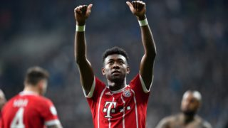 Bayern Munich's Austrian defender David Alaba gestures to supporters after the second leg of the last 16 UEFA Champions League football match between Besiktas and Bayern Munich at Besiktas Park in Istanbul on March 14, 2018.  / AFP PHOTO / Bulent Kilic
