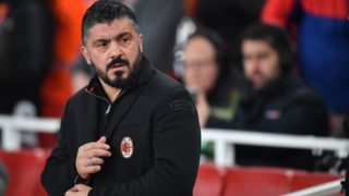 AC Milan's Italian manager Gennaro Gattuso looks on before the UEFA Europa League round of 16 second-leg football match  between Arsenal and AC Milan at the Emirates Stadium in London on March 15, 2018.  / AFP PHOTO / Ben STANSALL