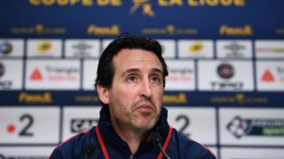 Paris Saint-Germain's Spanish headcoach Unai Emery gives a press conference at the Matmut Atlantique Stadium in Bordeaux, southwestern France, on March 30, 2018, on the eve of the French League Cup final football match between Monaco (ASM) and Paris Saint-Germain (PSG).  / AFP PHOTO / FRANCK FIFE