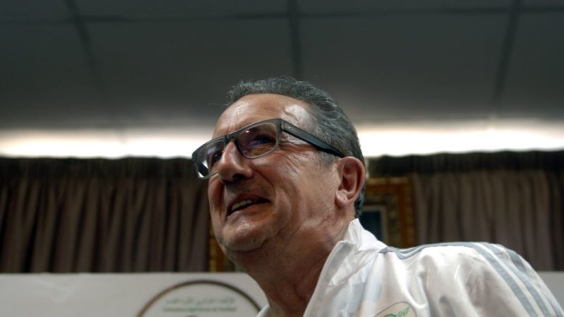 Algeria's Belgian headcoach Georges Leekens speaks during a press conference on January 2, 2017, at the Olympic Complex conference hall in Algiers. West Ham midfielder Sofiane Feghouli and defender Carl Medjani have been dropped as Leekens unveiled his 23-man squad for the Africa Cup of Nations. / AFP PHOTO / STR