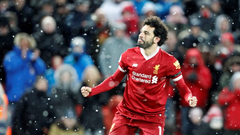 Liverpool midfielder Mohamed Salah (11) celebrates his goal 4-0 during the English championship Premier League football match between Liverpool and Watford on March 17, 2018 at Anfield in Liverpool, England - Photo Craig Galloway / ProSportsImages / DPPI