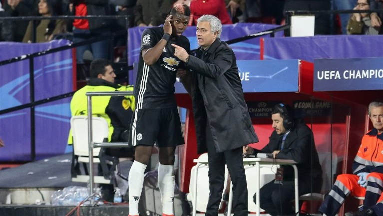 Manchester United Manager Jose Mourinho gives Manchester United Midfielder Paul Pogba instructions during the UEFA Champions League football match between Sevilla FC and Manchester United on February 21, 2018 at the Ramon Sanchez Pizjuan Stadium in Seville, Spain - Photo Phil Duncan / ProSportsImages / DPPI