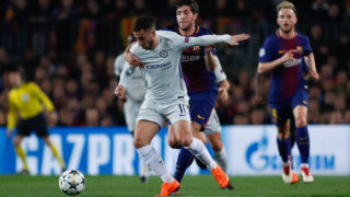 Sergi Roberto of FC Barcelona stops Eden Hazard of Chelsea FC with a fault during the UEFA Champions League, round of 16, 2nd leg football match between FC Barcelona and Chelsea FC on March 14, 2018 at Camp Nou stadium in Barcelona, Spain - Photo Antres Garcia / SpainDPPI / DPPI