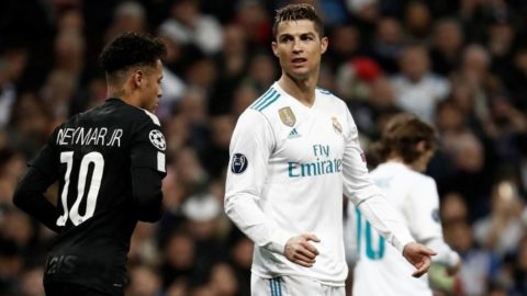 MADRID, SPAIN - FEBRUARY 14: Cristiano Ronaldo (R) of Real Madrid and Neymar Jr. of Paris Saint-Germain (L) are seen during the UEFA Champions League Round of 16 football match between Real Madrid and Paris Saint-Germain, at the Santiago Bernabeu stadium in Madrid, Spain on February 14, 2018. Burak Akbulut / Anadolu Agency