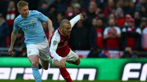 Arsenal's Jack Wilshere gets tackled by Manchester City's Kevin De Bruyne during Carabao Cup Final match between Arsenal against Manchester City at Wembley stadium, London  England on 25 Feb 2018 (Photo by Kieran Galvin/NurPhoto)